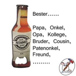 Maus-Design Flaschenöffner Bester Papa, Opa, Onkel, Patenonkel/Sie entscheiden für wen dieser Flaschenöffner ist/Individualisierbar/Auch mit Name - 1