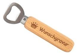 SNEG Flaschenöffner aus Holz mit Gravur (Text + Motiv) (einseitige Gravur) - 1