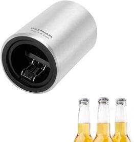 Westmark Automatischer Flaschenöffner/Kapselheber, Zum Öffnen von Kronkorken-Flaschen, Gebürstetes Aluminium, Push&Pull, Silber, 5.3 x 5.3 x 8 cm - 1